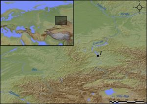 Хакасия и расположение могильника Оглахты